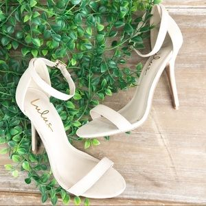 LULU'S Off White 'Elsi' Ankle Strap Sandal Heels 7